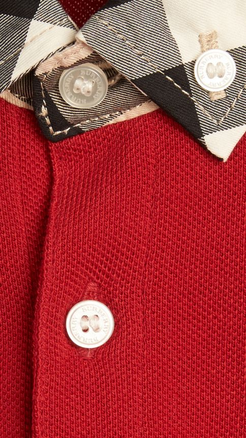 Military red Check Collar Polo Shirt Military Red - Image 2
