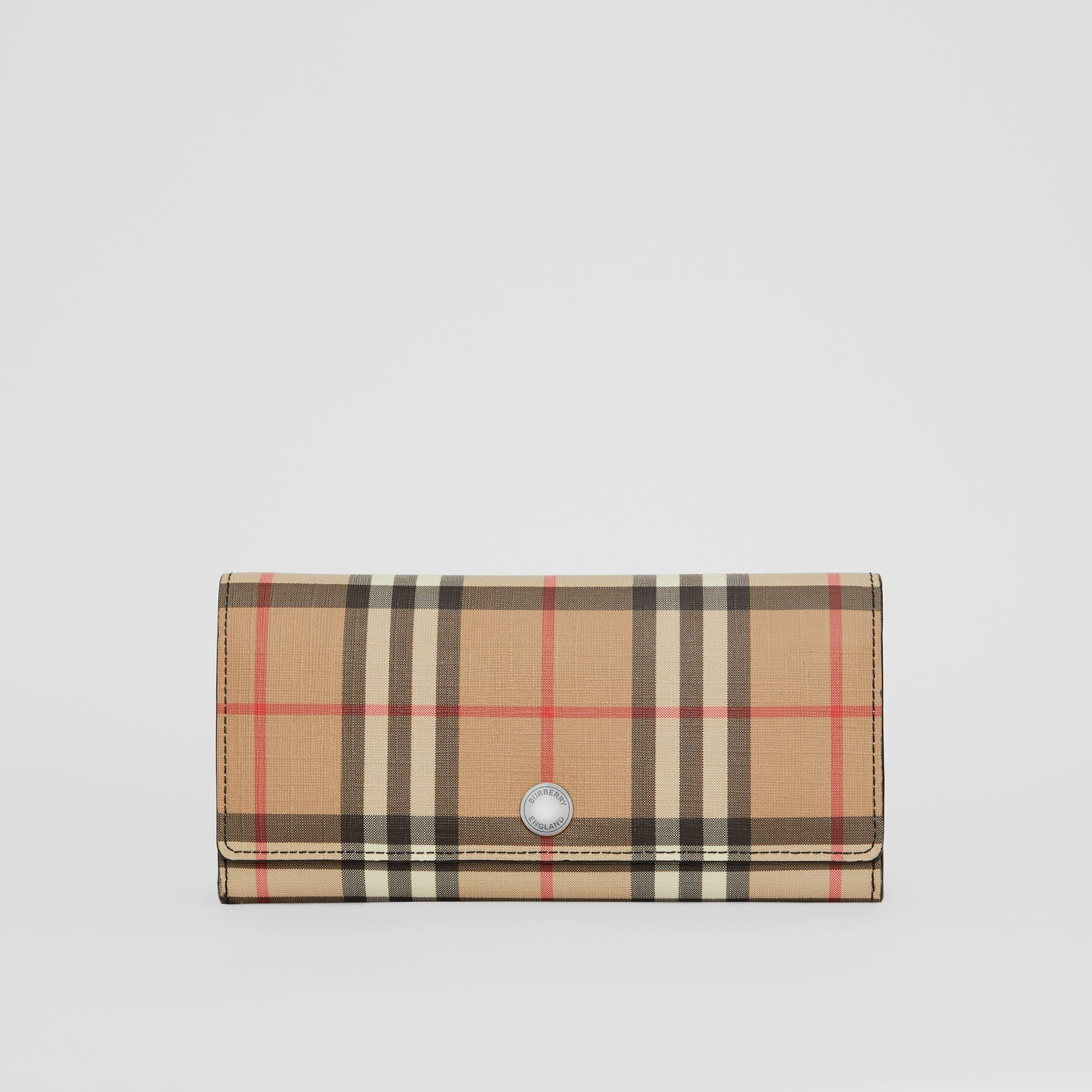 Vintage Check E-canvas Continental Wallet in Black - Women | Burberry Canada - gallery image 0