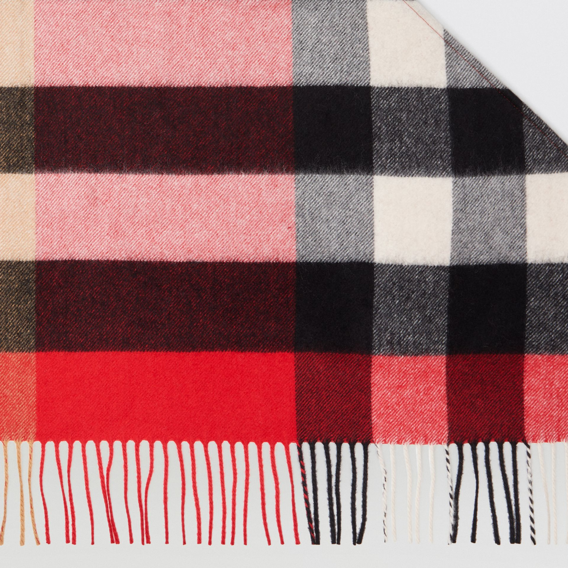 The Burberry Bandana in Check Cashmere in Bright Military Red | Burberry - gallery image 1