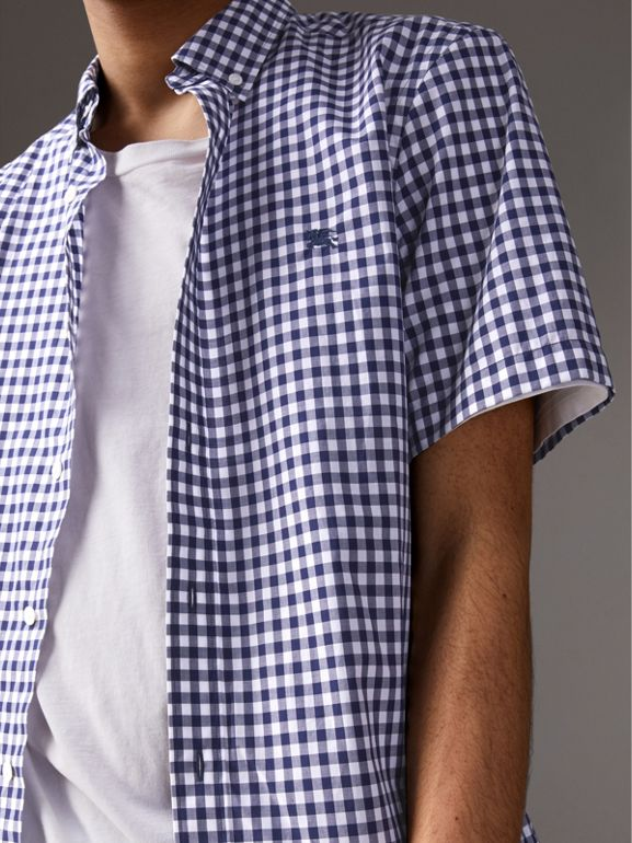 Short-sleeve Button-down Collar Cotton Gingham Shirt in Navy - Men | Burberry - cell image 1