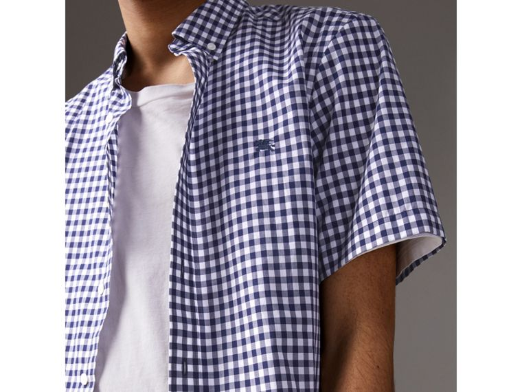 Short-sleeve Button-down Collar Cotton Gingham Shirt in Navy - Men | Burberry United States - cell image 1