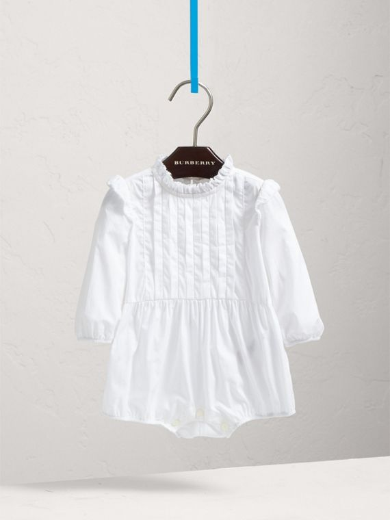 Ruffled Collar Cotton Bodysuit in White | Burberry Singapore - cell image 2