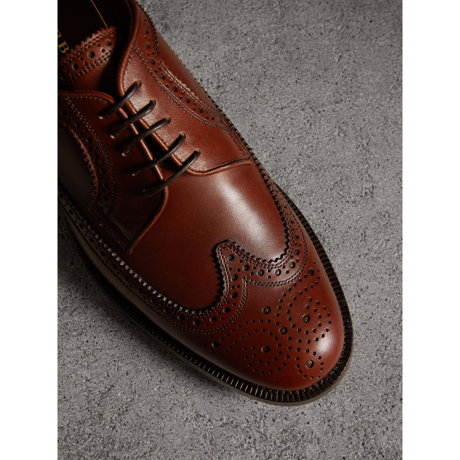 Leather Derby Brogues in Chestnut - Men | Burberry - gallery image 2