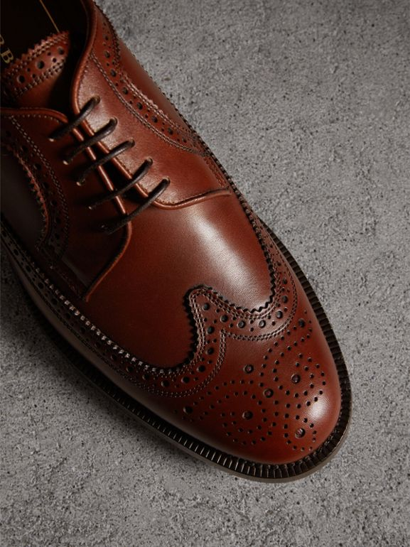 Leather Derby Brogues in Chestnut - Men | Burberry - cell image 1