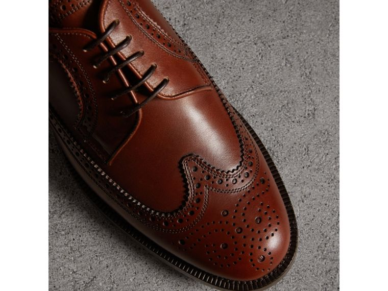 Leather Derby Brogues in Chestnut - Men | Burberry Australia - cell image 1