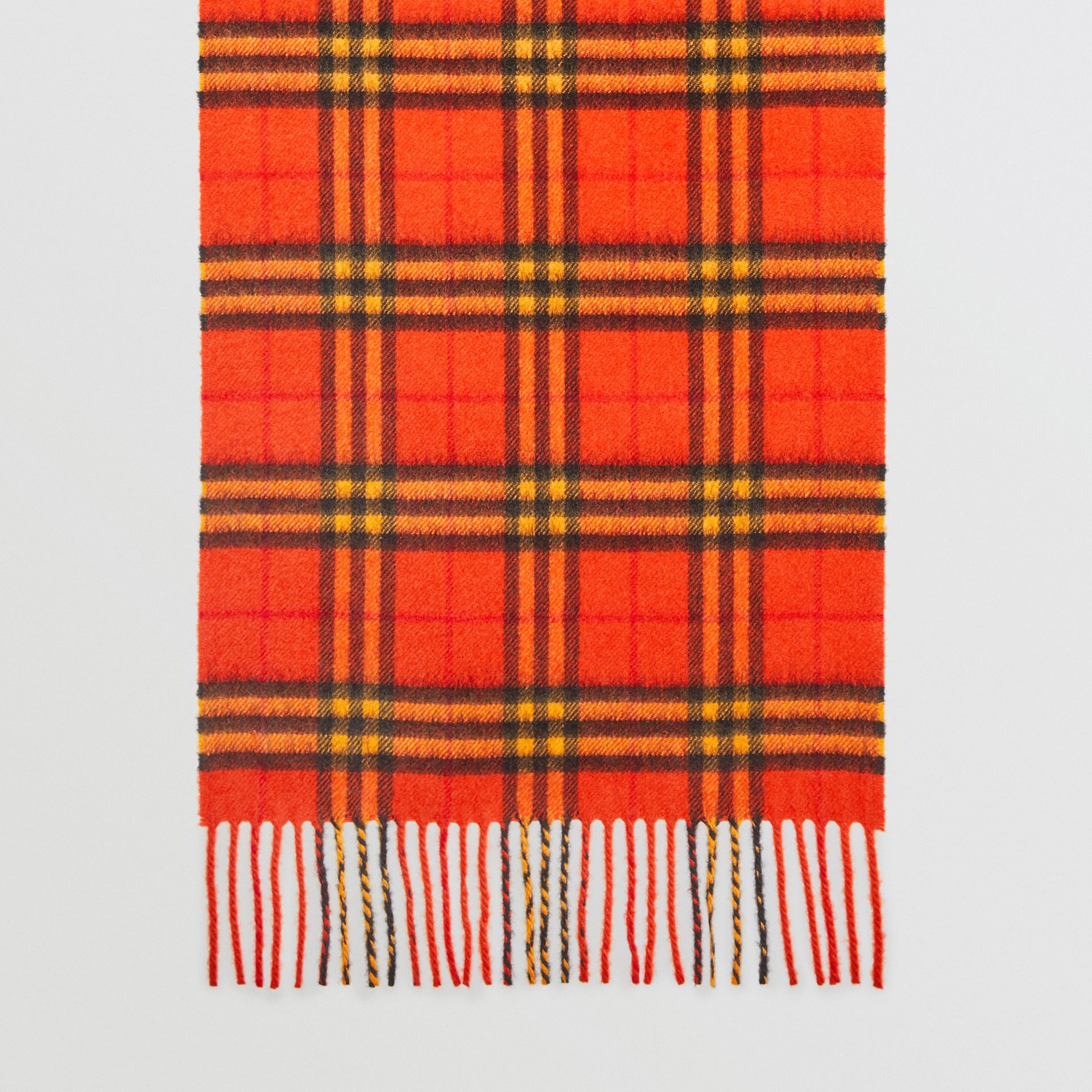The Classic Vintage Check Cashmere Scarf in Orange | Burberry - gallery image 4