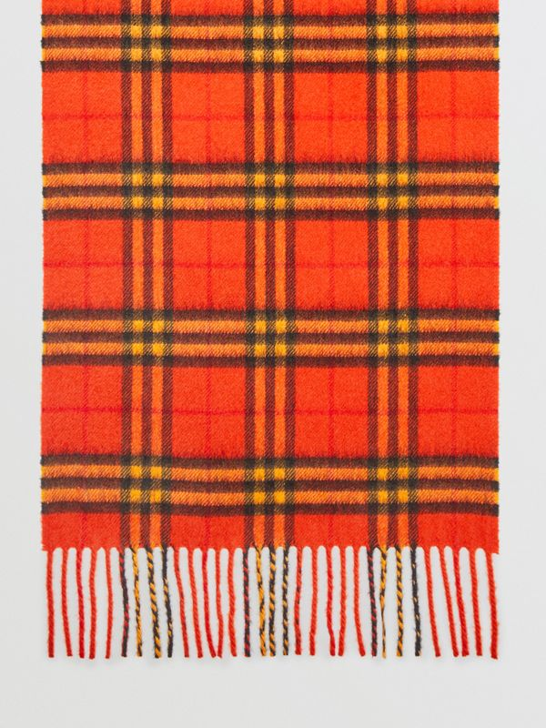 The Classic Vintage Check Cashmere Scarf in Orange | Burberry Singapore - cell image 2