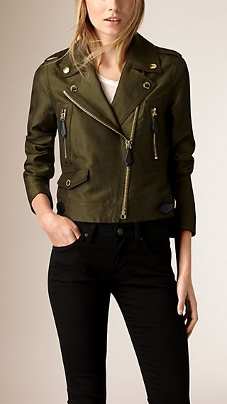 Linen Cotton Silk Biker Jacket