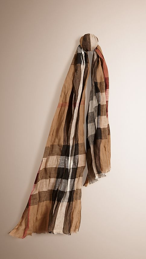 House check/black Check Linen Scarf - Image 1
