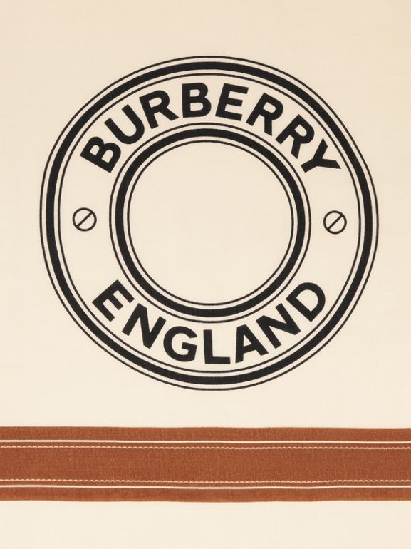 Logo Graphic Lightweight Cashmere Scarf in Natural White | Burberry Canada - cell image 1