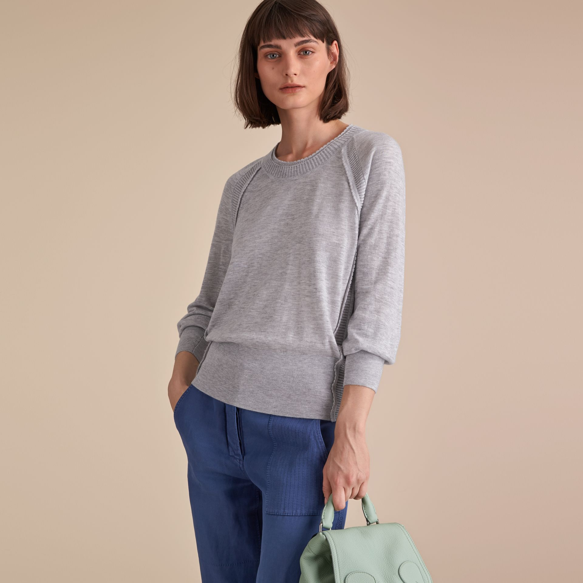 Open-knit Detail Cashmere Crew Neck Sweater in Light Grey Melange - gallery image 6