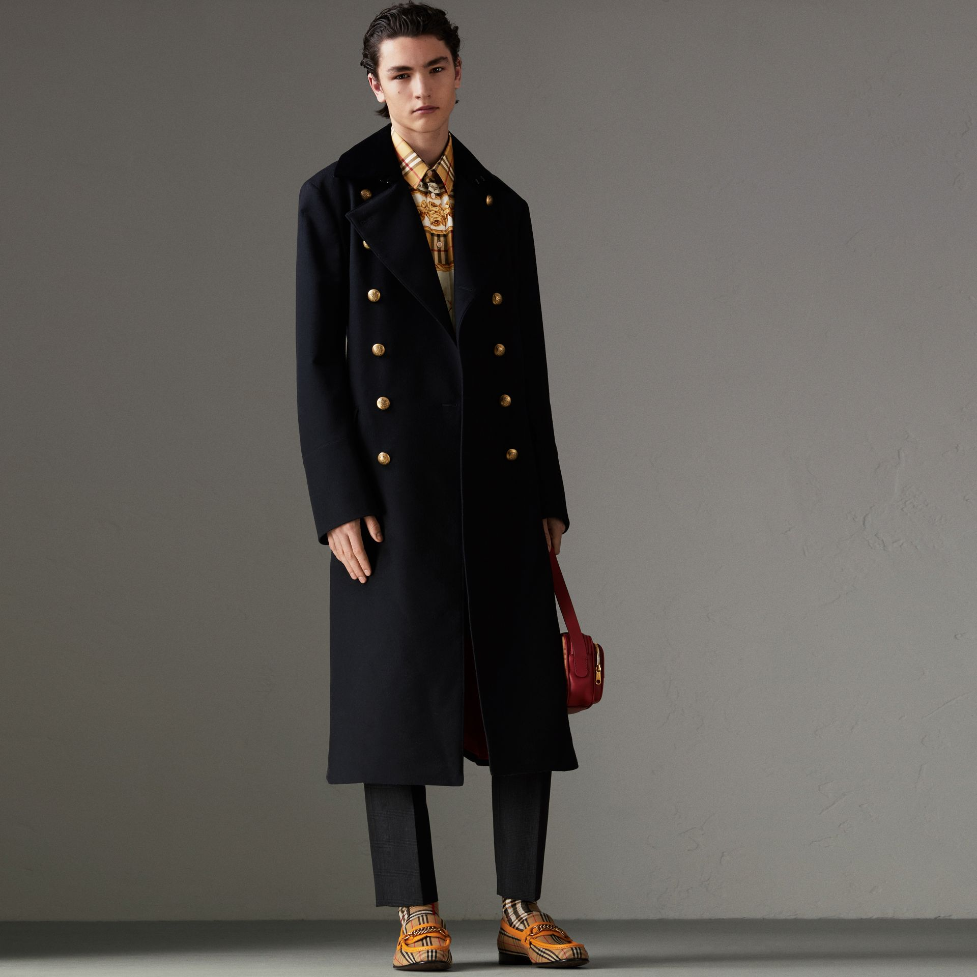 Velvet Collar Doeskin Wool Military Coat in Dark Navy | Burberry Australia - gallery image 0