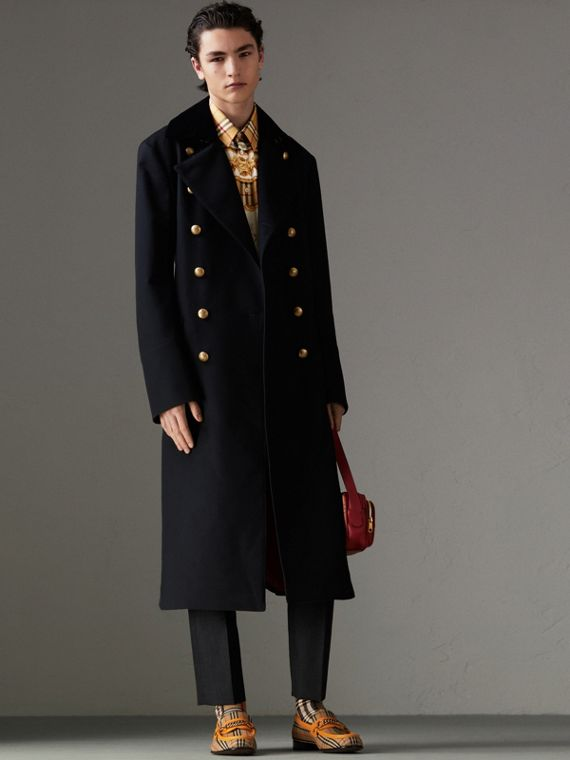 Velvet Collar Doeskin Wool Military Coat in Dark Navy
