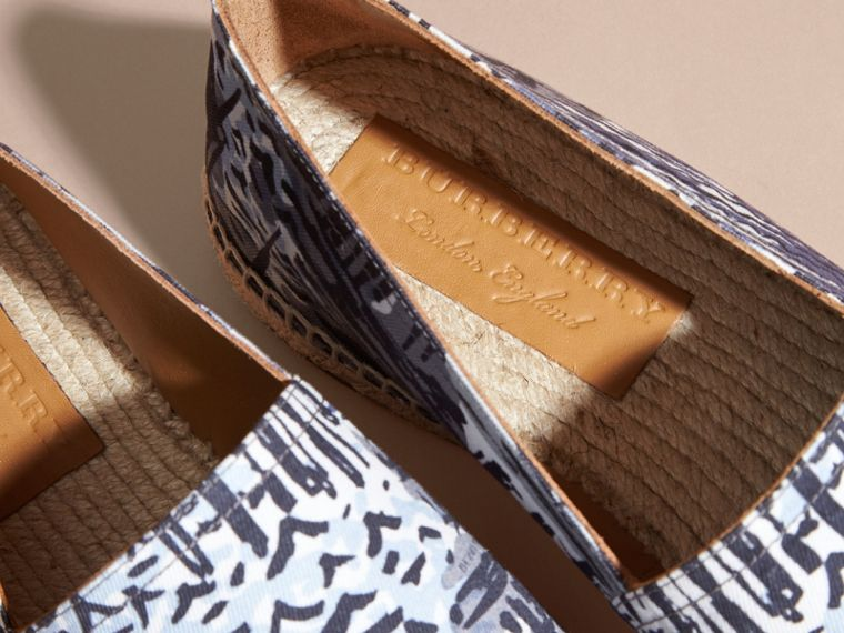 British Seaside Print Cotton Espadrilles Steel Blue - cell image 1