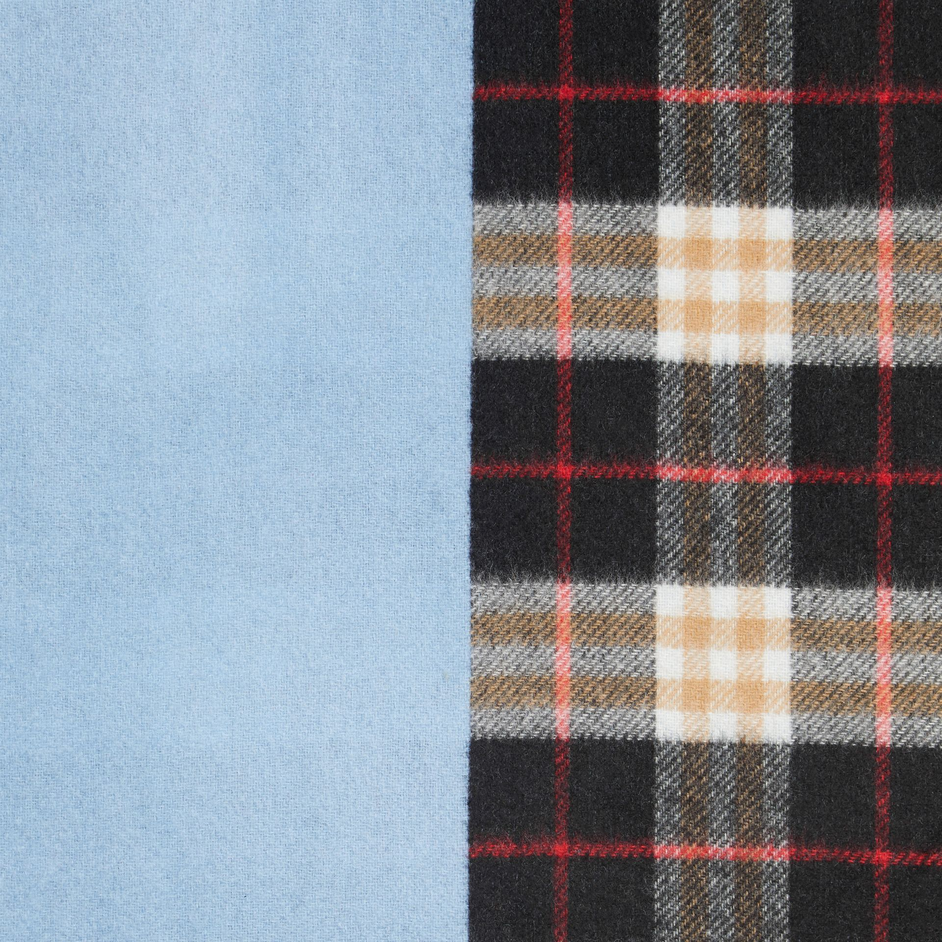 Colour Block Vintage Check Cashmere Scarf in Pale Air Force Blue | Burberry - gallery image 1