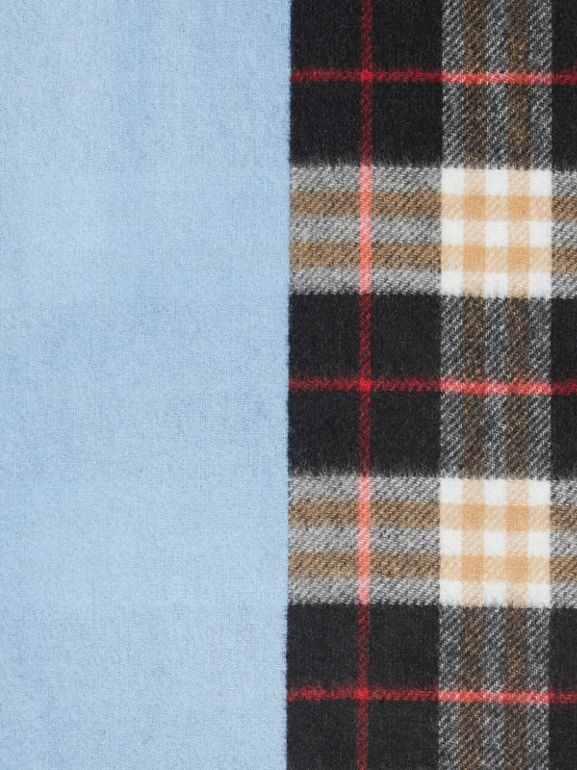 Colour Block Vintage Check Cashmere Scarf in Pale Air Force Blue | Burberry Singapore - cell image 1