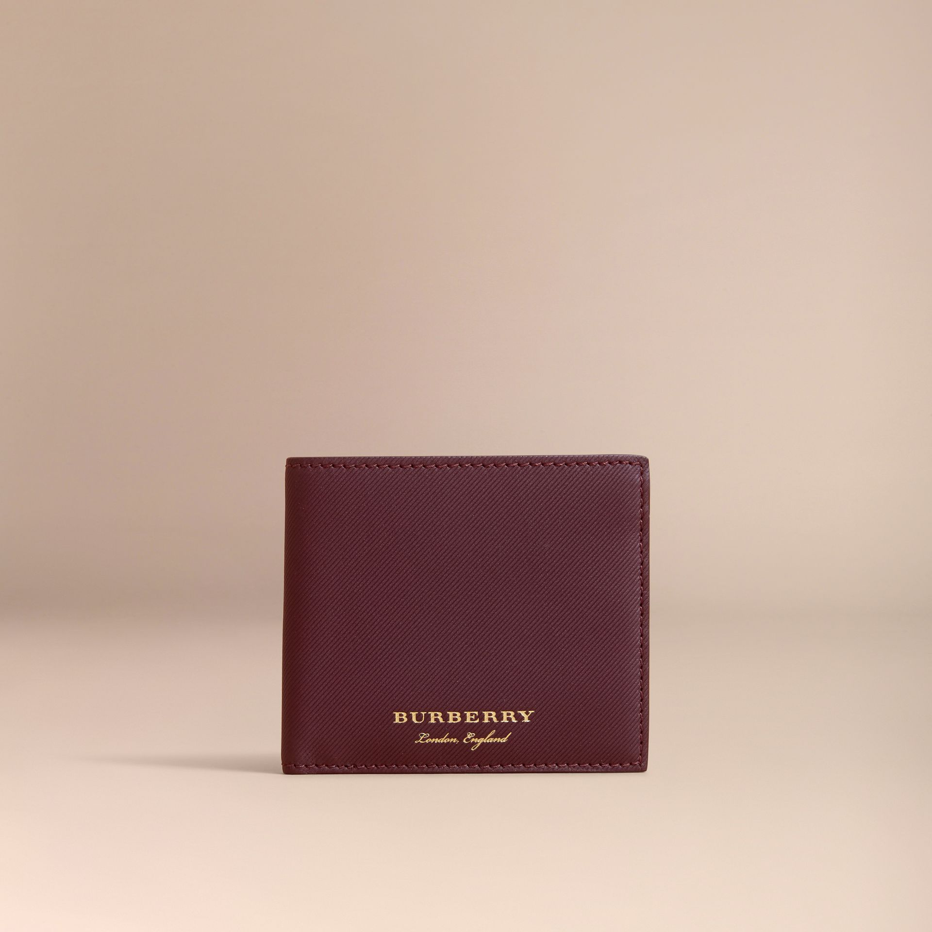 Trench Leather International Bifold Wallet in Wine - Men | Burberry Australia - gallery image 6