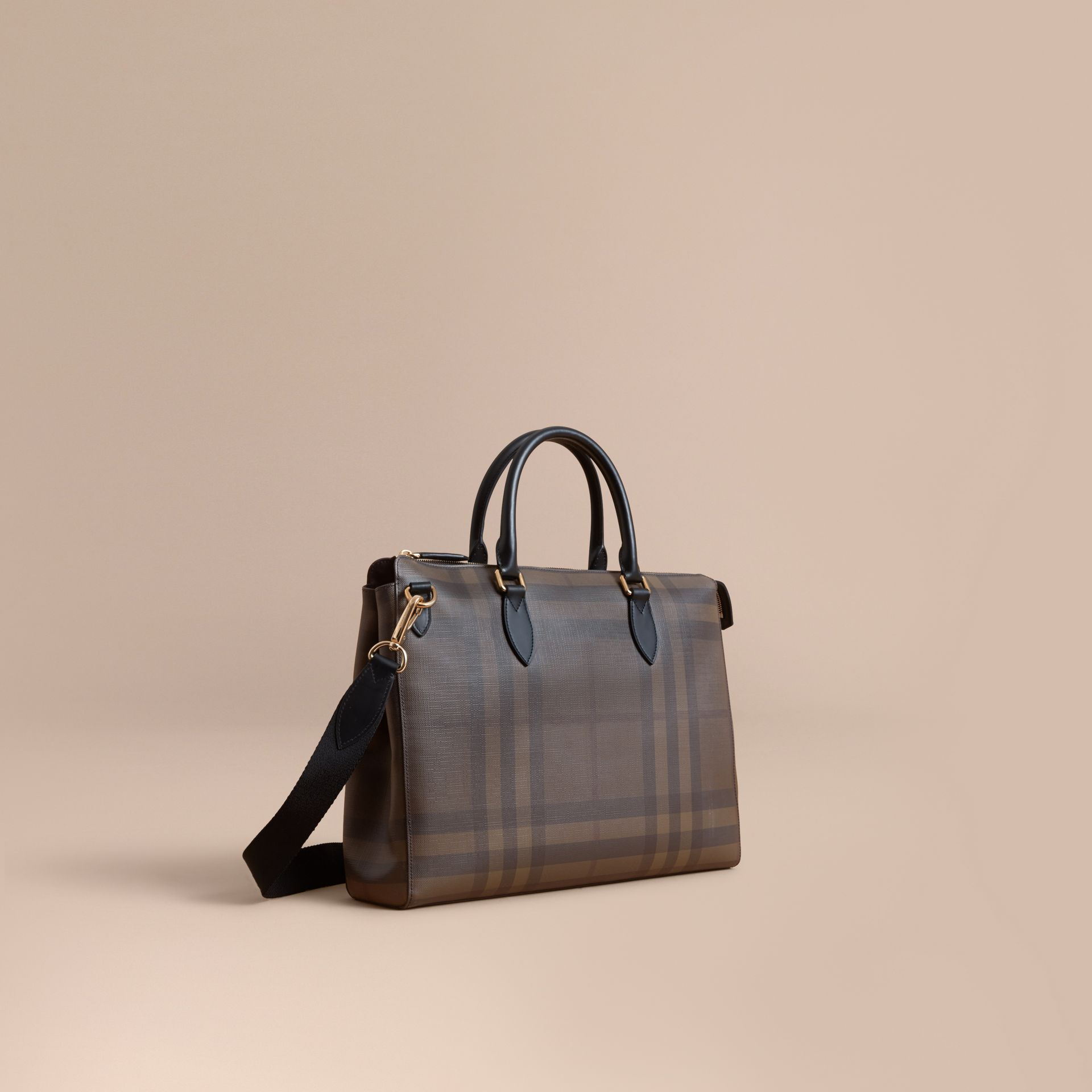 Large London Check Briefcase in Chocolate/black - Men | Burberry - gallery image 1