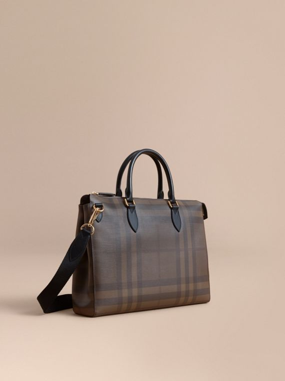 Large London Check Briefcase in Chocolate/black