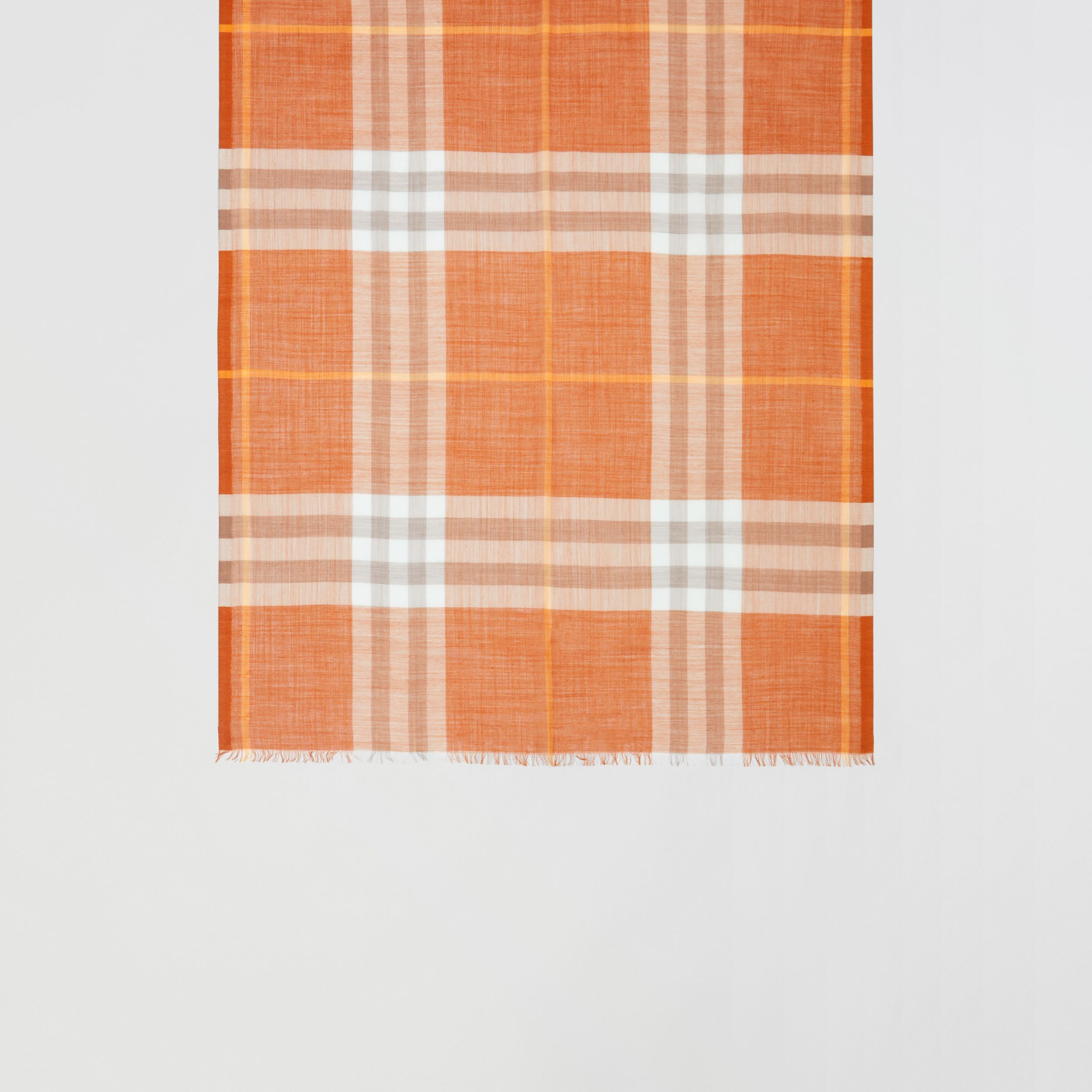 Lightweight Check Wool Silk Scarf in Bright Melon | Burberry - 3