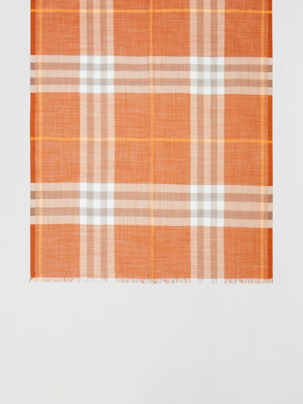 Lightweight Check Wool Silk Scarf in Bright Melon | Burberry United States - cell image 2