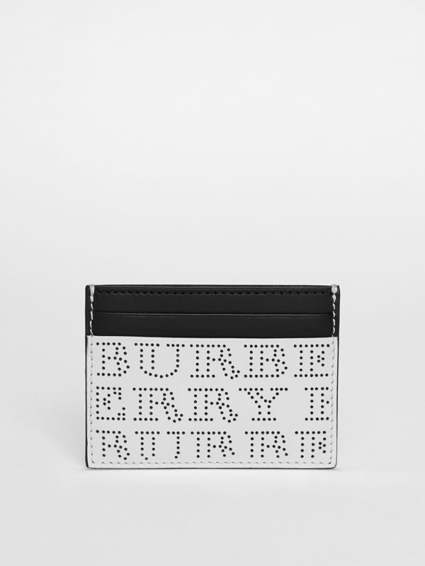 Perforated Logo Leather Card Case in Optic White | Burberry - cell image 2