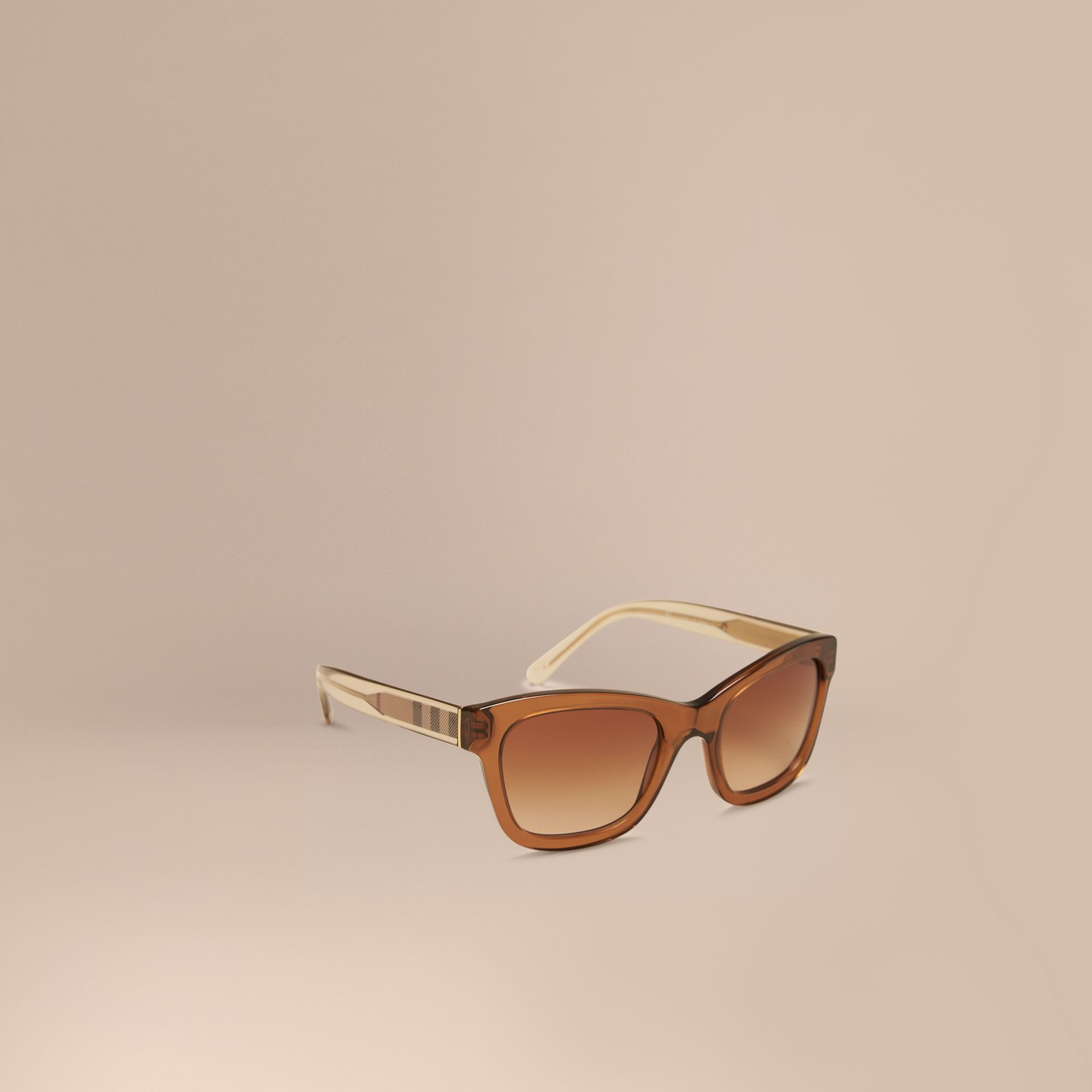 Taupe brown Check Detail Cat-eye Frame Sunglasses Taupe Brown - gallery image 1