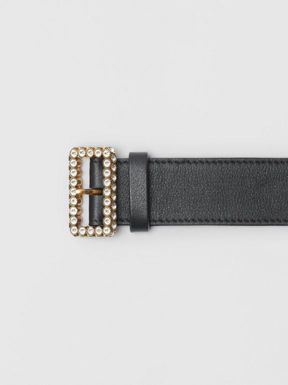 Leather Belt with Crystal Buckle in Black - Women | Burberry Australia - cell image 1