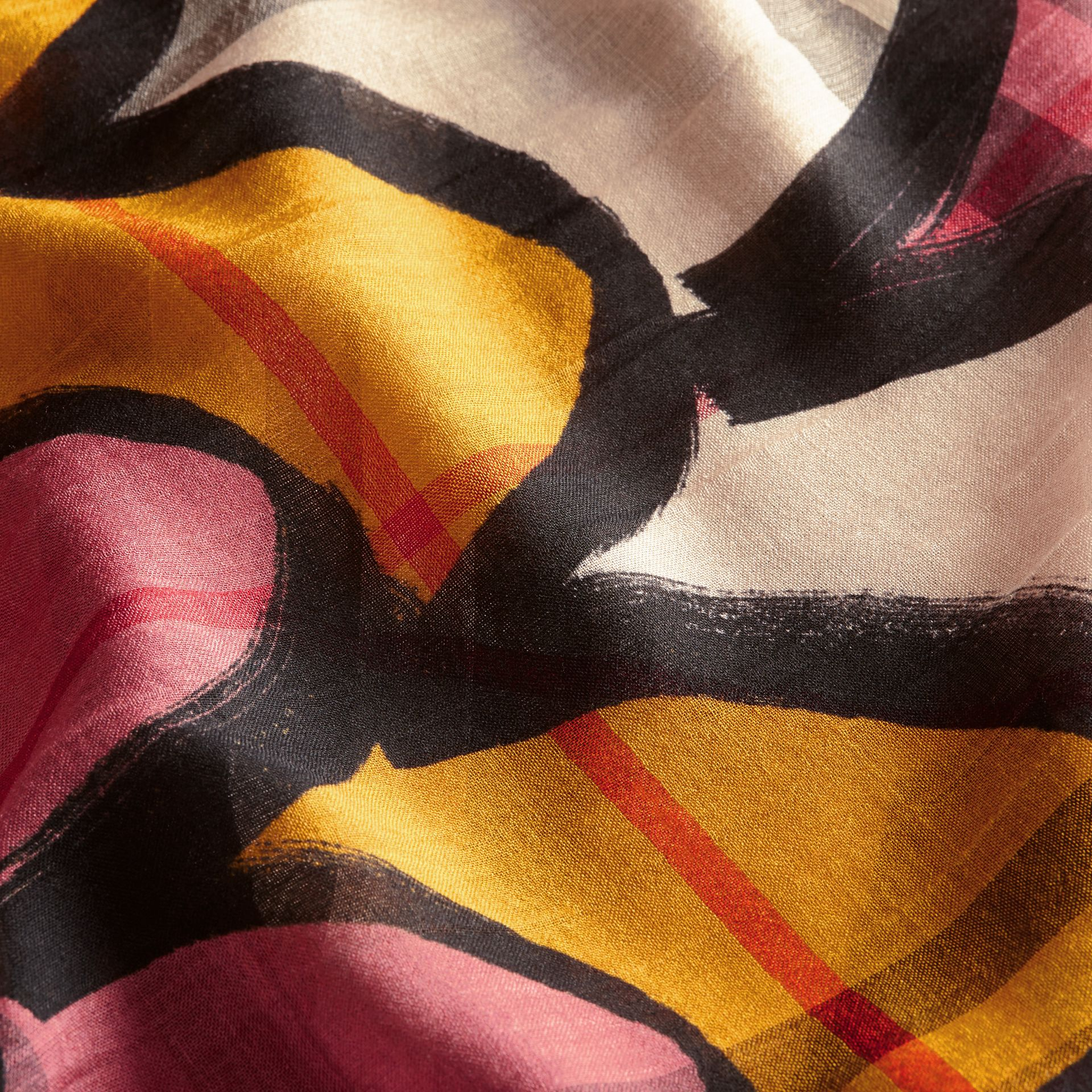 Check Wool Silk Scarf with Trompe L'oeil Print in Dusty Pink - Women | Burberry - gallery image 2