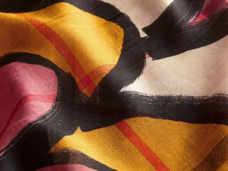 Check Wool Silk Scarf with Trompe L'oeil Print in Dusty Pink - Women | Burberry Singapore - cell image 1