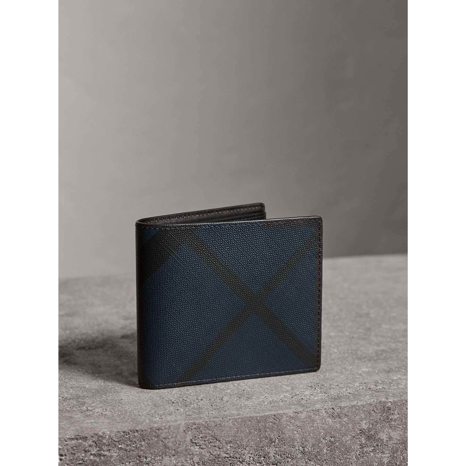 London Check ID Wallet in Navy/black - Men | Burberry United States - gallery image 0