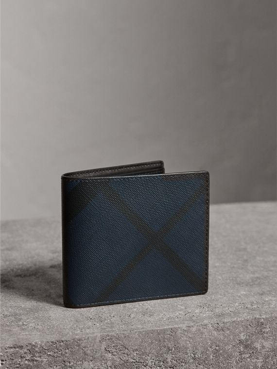 London Check ID Wallet in Navy/black