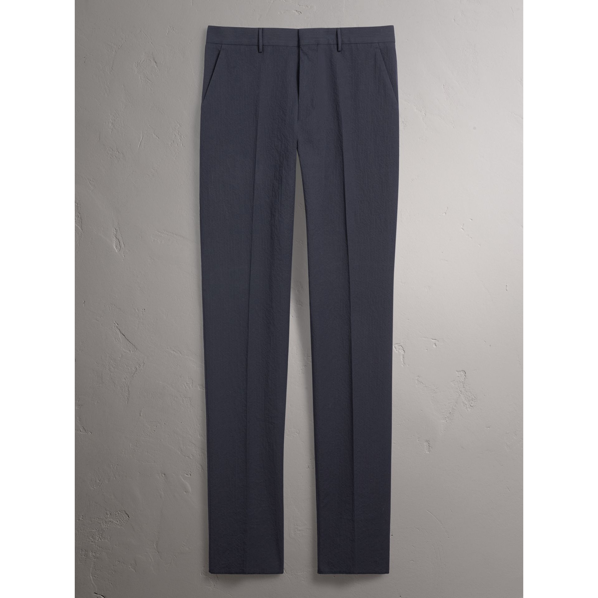 Slim Fit Textured Stretch Cotton Trousers in Navy - Men | Burberry - gallery image 4