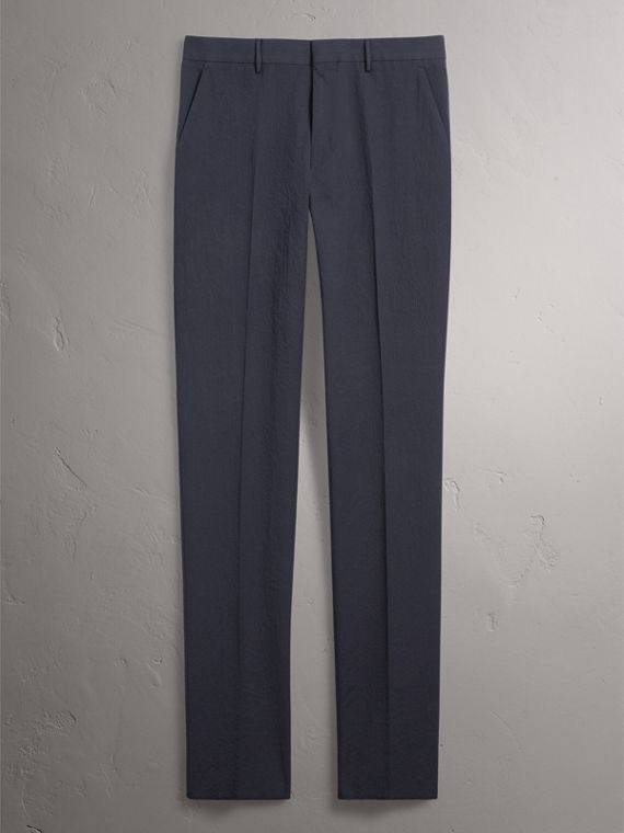 Slim Fit Textured Stretch Cotton Trousers in Navy - Men | Burberry - cell image 3