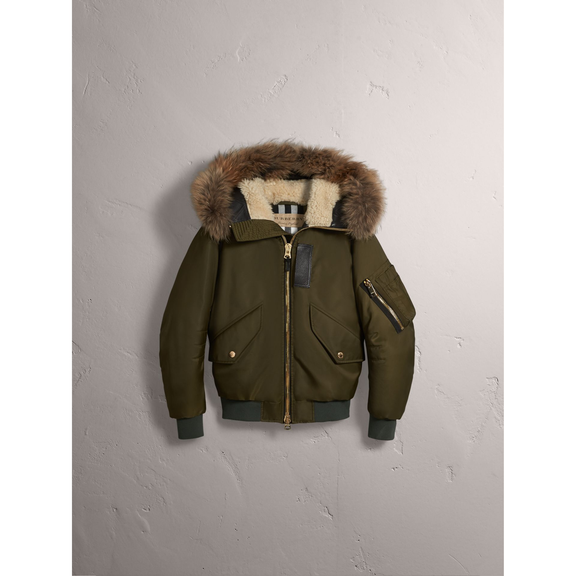 Raccoon Fur and Shearling Hood Duck-down Jacket in Caper Green - Men | Burberry - gallery image 4
