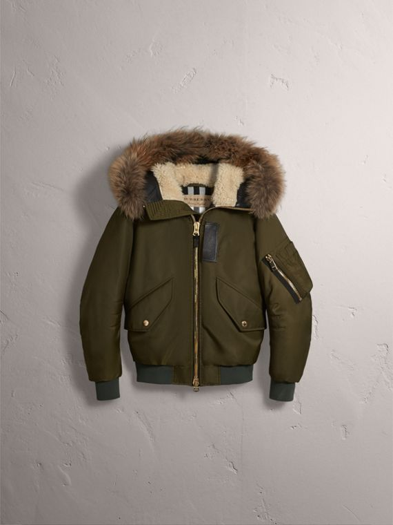 Raccoon Fur and Shearling Hood Duck-down Jacket in Caper Green - Men | Burberry - cell image 3