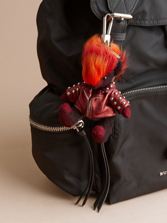 The Punk Thomas Bear Charm in Studded Lambskin Claret - cell image 2