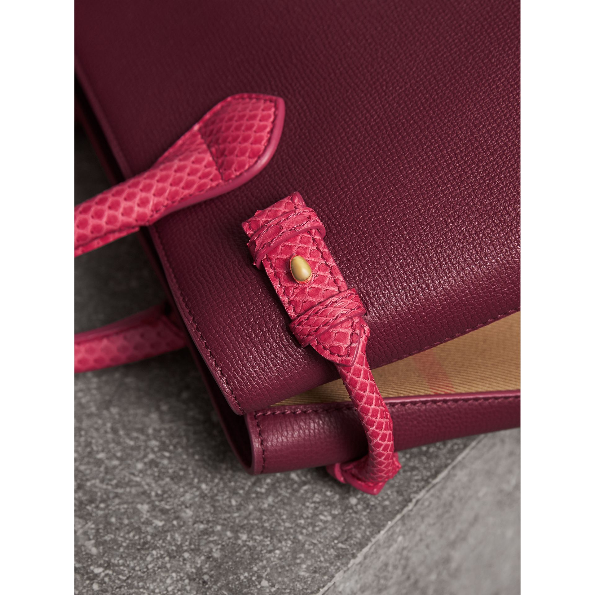 The Medium Banner in Leather and Snakeskin in Berry Pink - Women | Burberry - gallery image 2
