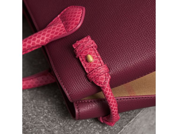 The Medium Banner in Leather and Snakeskin in Berry Pink - Women | Burberry - cell image 1