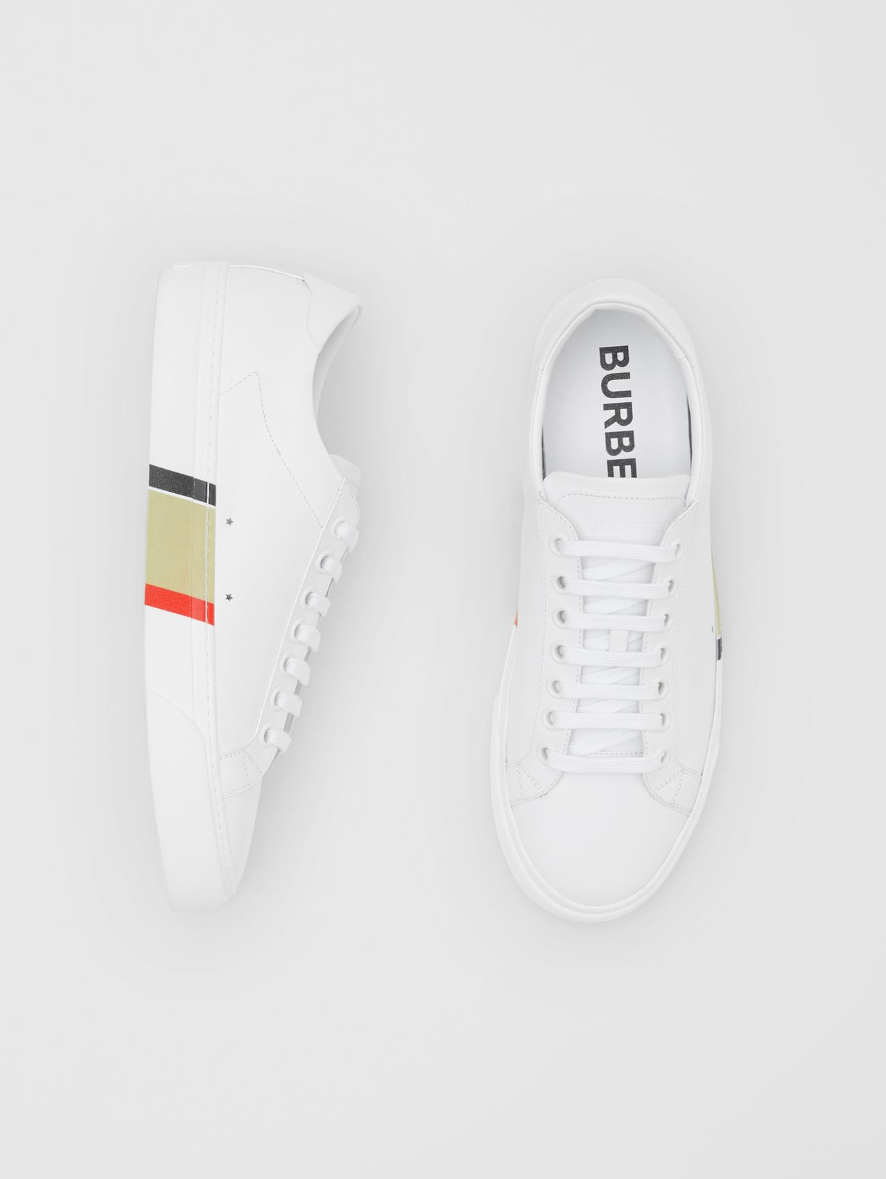 Stripe Print Leather Sneakers (Optic White)