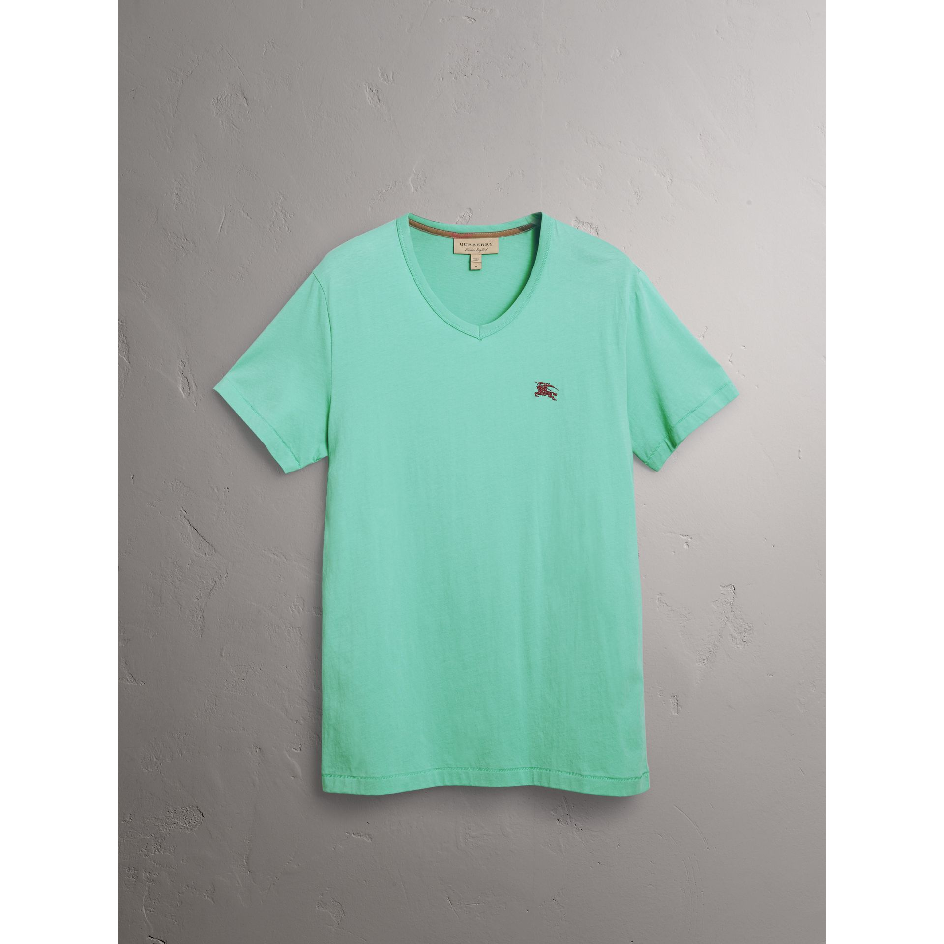 Cotton Jersey T-shirt in Turquoise - Men | Burberry United States - gallery image 3