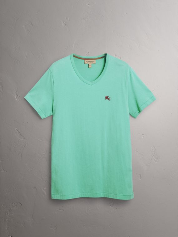 Cotton Jersey T-shirt in Turquoise - Men | Burberry United States - cell image 3