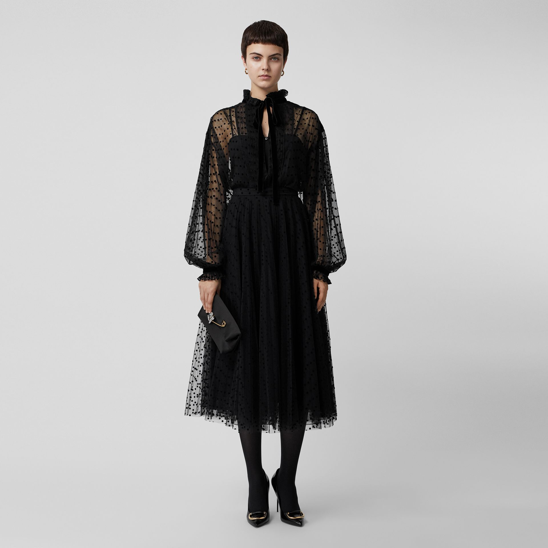 Polka-dot Flock Tulle Skirt in Black - Women | Burberry - gallery image 0
