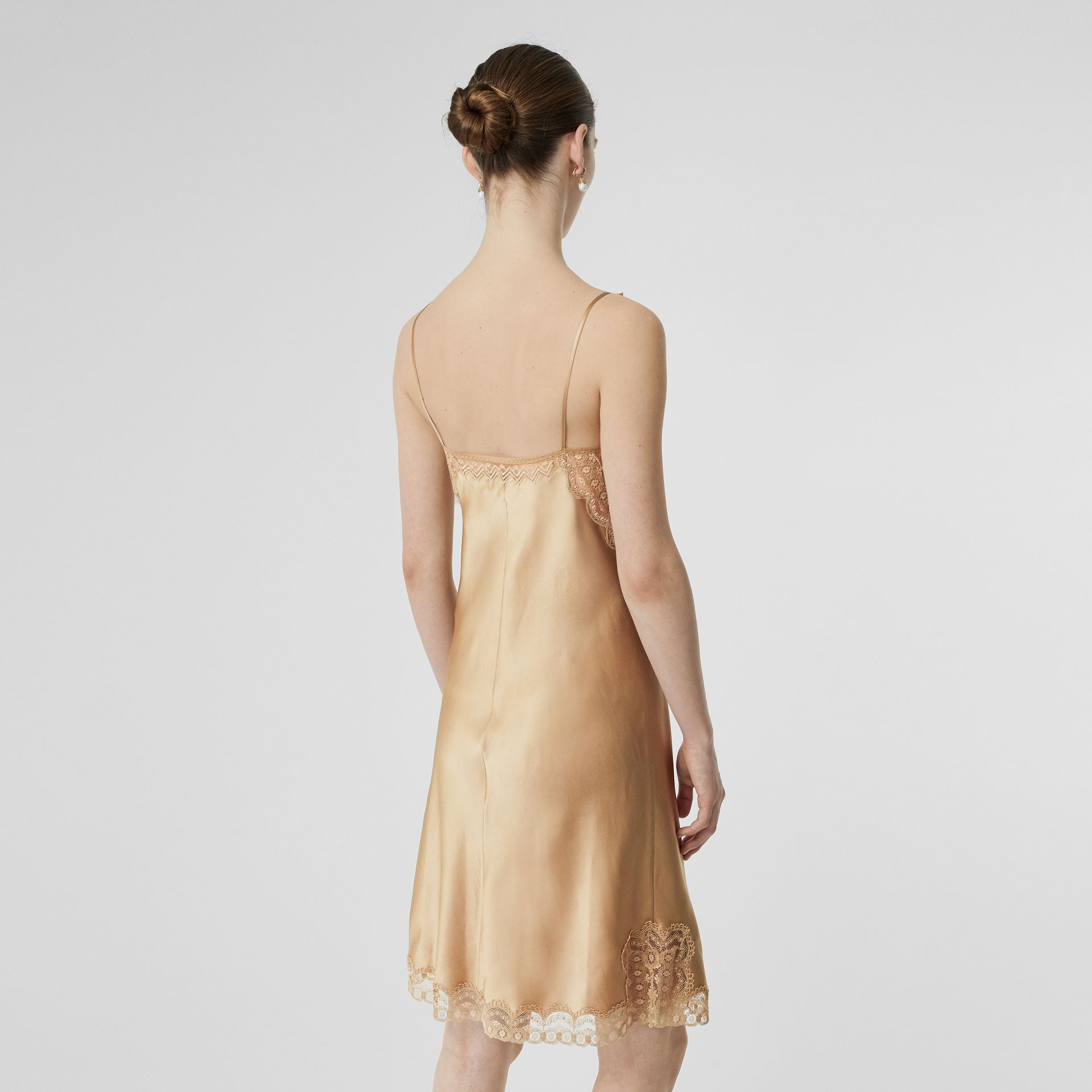 Lace Detail Silk Slip Dress in Honey - Women | Burberry Australia - gallery image 2