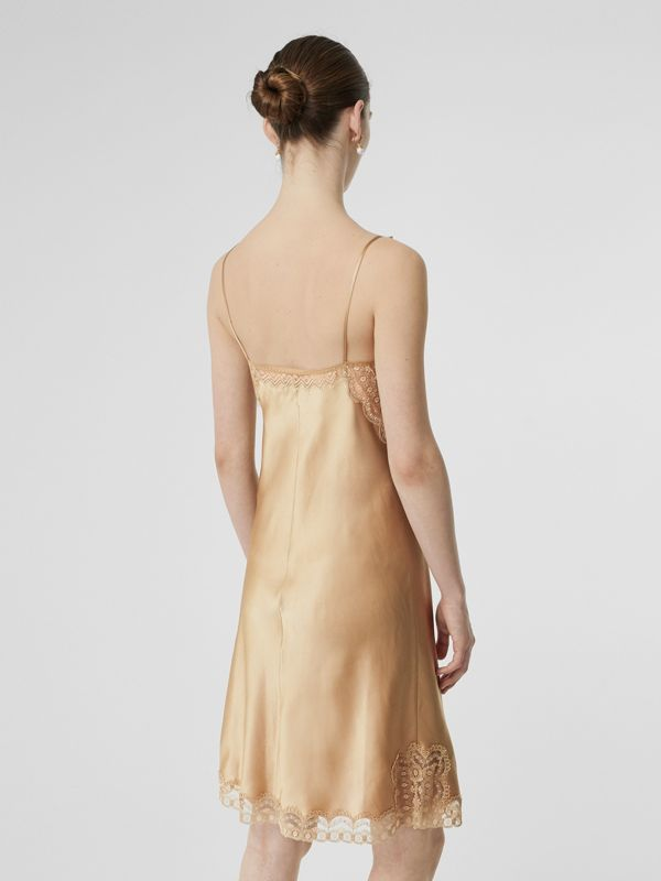 Lace Detail Silk Slip Dress in Honey - Women | Burberry Australia - cell image 2