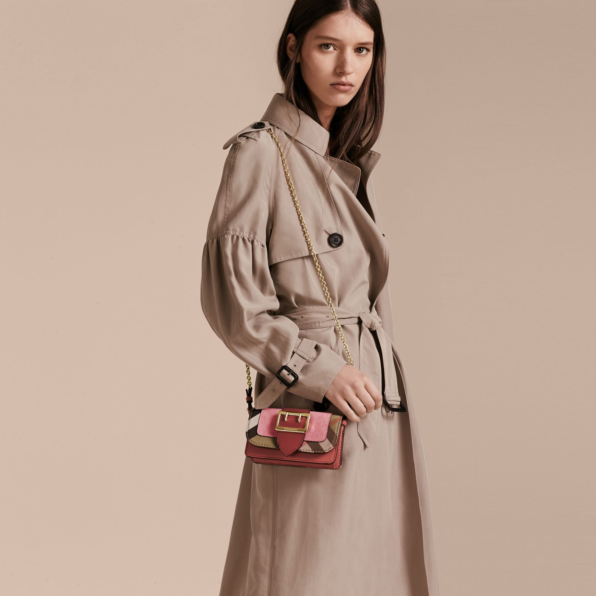 Rose pink The Mini Buckle Bag in Leather and House Check Rose Pink - gallery image 3