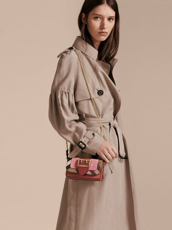 The Mini Buckle Bag in Leather and House Check in Rose Pink - Women | Burberry - cell image 2