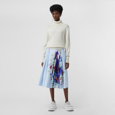Rainbow Print Cotton Sateen Skirt in Blue