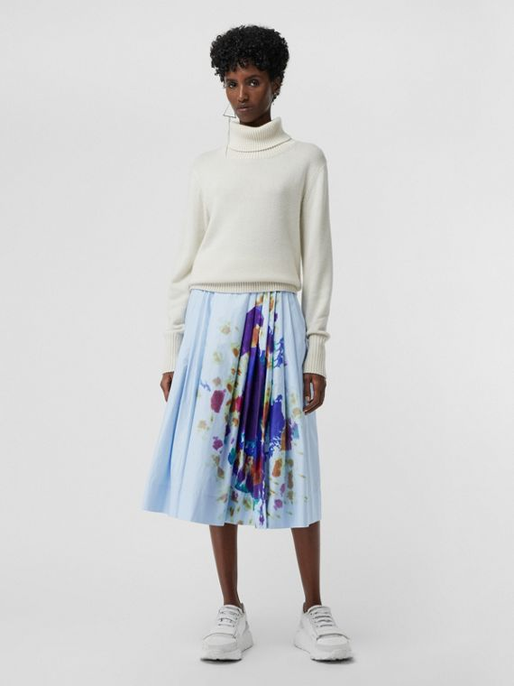 Rainbow Print Cotton Sateen Skirt in Light Blue