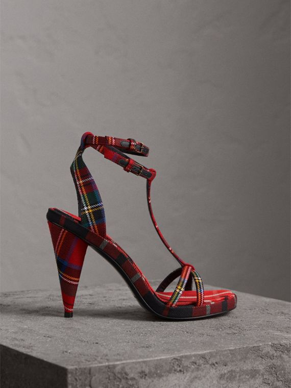 Tartan Wool High Cone-heel Sandals in Vibrant Red